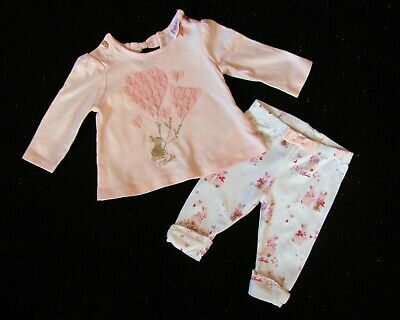 TED BAKER Girls Bunnies Rabbits SPARKLE Two Piece Leggings Outfit age 0-3 mths