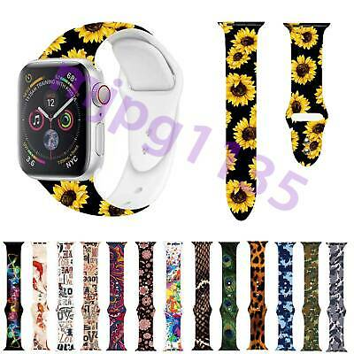 For Apple Watch iwatch Series 5/4/3 Flower Printed Silicone Strap Bracelet Band