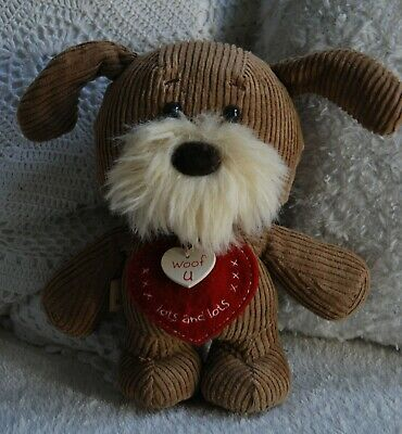 BNWT Lots of Woof Brown Cord Dog Red Heart 'Woof U' Soft Cuddly Toy Ornament 8""