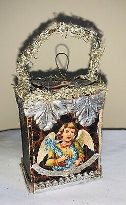 Antique German Dresden Candy Container Box w/ Scrap Angel Christmas Ornament