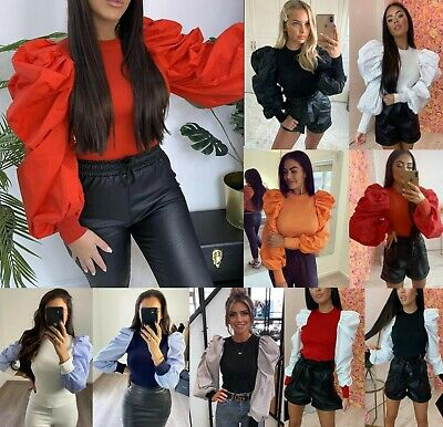 Women's Ladies Fine Ribbed Long Frill Balloon Puff Sleeve Jumper Sweater Top New