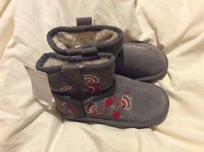 marks spencer girls grey sued boots size 7 BNWTS