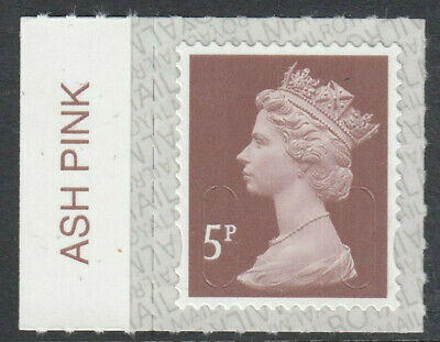 GB 2019 5p S/A MACHIN M19L SBP2u ASH PINK on SELVEDGE MNH From Counter Sheet