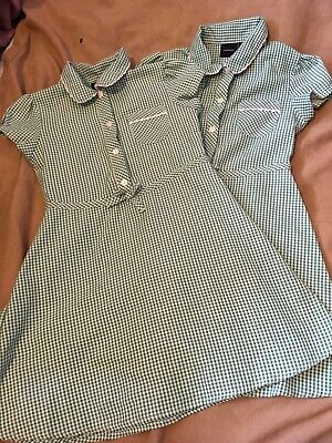 Debenhams 2 Girls Green White Check School Dresses Age 7 Yrs Good Condition