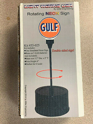 Miller's Gulf Rotating Animated Neon Sign O Scale #55-025 model train layout
