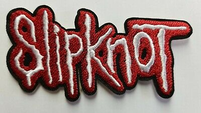 SLIPKNOT LOGO RED AND WHITE  embroidered  IRON ON , OR SEW  PATCH