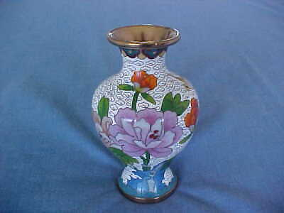 "Vintage Chinese 5"" Cloisonne Vase With Peonies And Bird, Brass Wire And Base"