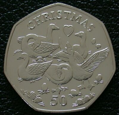 2010 IOM 50p Fifty Pence Christmas Coin SIX GEESE A LAYING BUNC, SCARCE