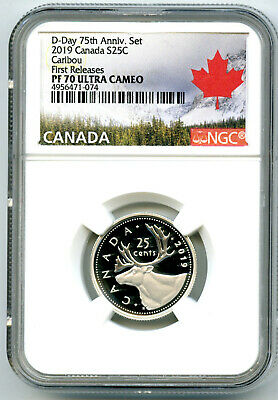 2019 Canada 25 Cent .9999 Silver Proof Quarter Ngc Pf70 Ucam First Releases