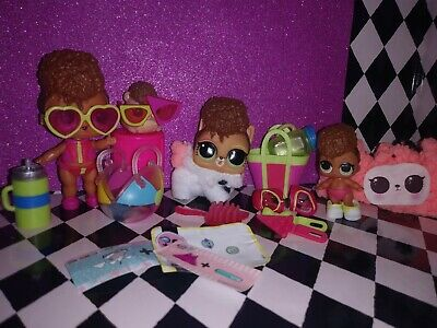 LOL Surprise. Doll Lot of 4 FAMILY SET RIP TIDE LIL & PETS NEW FLUFFY WINTER PET