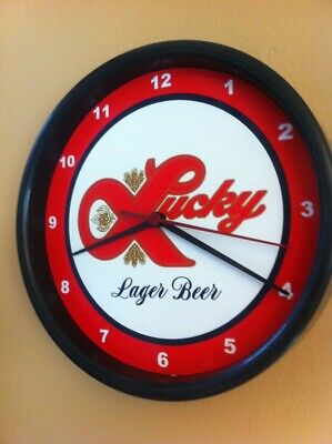 Lucky Lager Beer Bar Man Cave Advertising Black Wall Clock Sign