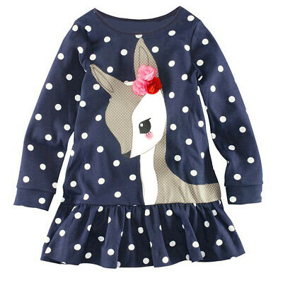 Toddler Baby Girls Kids Autumn Clothes Long Sleeve Party Deer Tops T-Shirt NEW