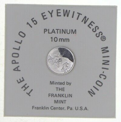1971 Apollo 15 Eyewitness Platinum 10MM Mini Coin - The Franklin Mint *7304