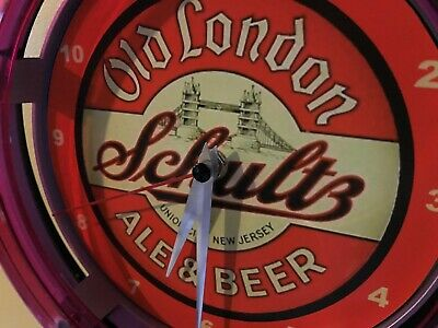 Schultz Old London New Jersey Beer Bar Advertising Man Cave Neon Wall Clock Sign