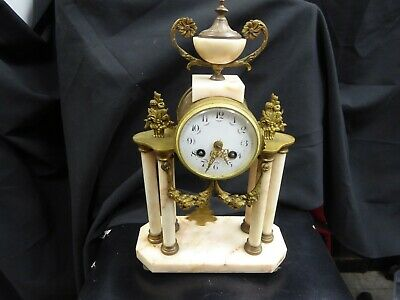 French JAPY FRERES 1855 ORMOLU & Marble Mantel CLOCK GILDED Bell CHIME working