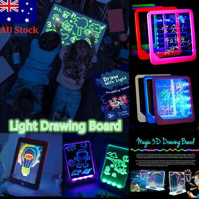 3D Light Up LED Board Magic Childrens Pad Toy Art Drawing Tablet W/Pen Kids Gift