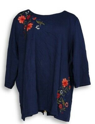 Denim /& Company Multi Floral French Terry Knit Top 1X 2X 3X 170883RM NWT D/&CO
