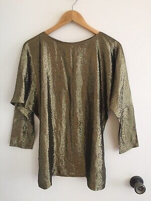 GAY NAFFINE Vintage Gold Disco Batwing Studio 54 Lightweight Sparkle Top Sz 10