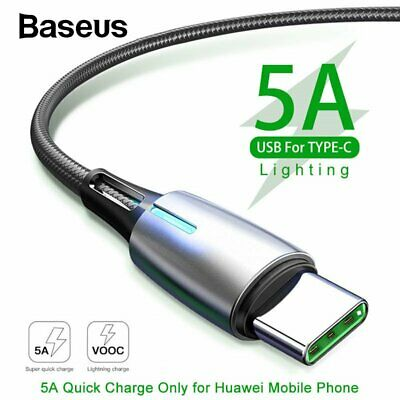 Baseus 5A USB Type C Charger Cable Fast Charging Cord Special for Huawei P20 P30