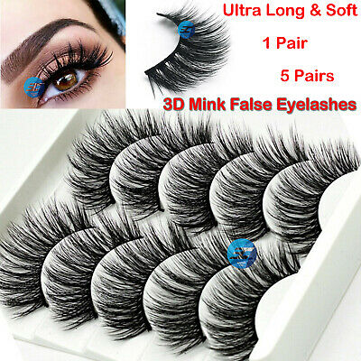 3D Mink False Eyelashes 1 5 Pair Wispy Cross Long Thick Soft Fake Eye Lashes UK