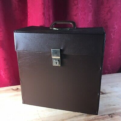 Vintage 1970s Record LP 12 Inch Box Carry Case Brown Style Retro Key