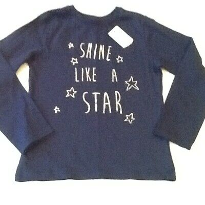 GIRLS-YOUNG DIMENSION-LG SLEVE-T SHIRT-AGE 5-6 YRS-HEIGHT 116cm-NAVY-COTTON-BNWT