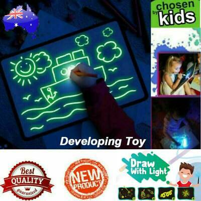 Educational Light Up Drawing Board Draw Sketchpad Board Kid Developing Toy + Pen