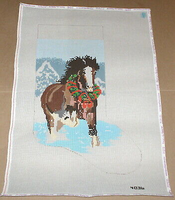 """Wild Horse Running Free"" Handpainted Christmas Stocking Needlepoint Canvas"