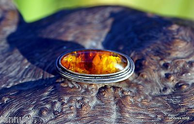 Antique Silver Brooch from Fischland with Beautiful Amber Noble & Valuable