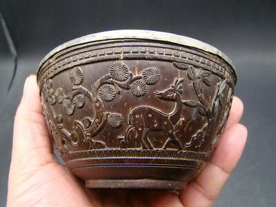 Chinese 19th century nice carved coconut small bowl  t5097