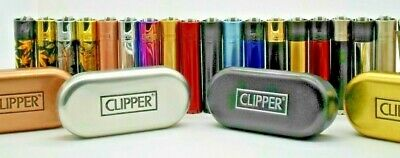 Genuine Metal Clipper Lighter With Metal Gift Tin Refillable Various Colours