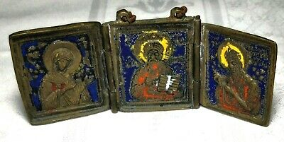 Antique Russian Triptych Icon in Brass and Enamel Pocket Size 40mm x 36mm arti