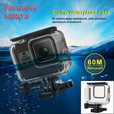 For GoPro HERO8 Black 60m Waterproof Action 4K Ultra HD Camera 9H Tempered Glass