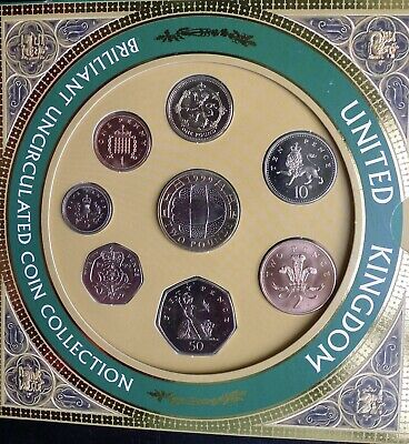 1999 Royal Mint 8 coin UNCIRCULATED set Rugby £2 and RARE Lion Rampart Pound
