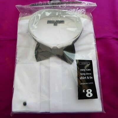 White Dress Shirt And Black Bow Tie 17 Inch Collar By George BNIP