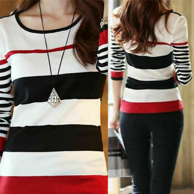 Women Shirt Long Fashion T-shirts Sleeve Slim Tees Tops Blouse Striped Pullover