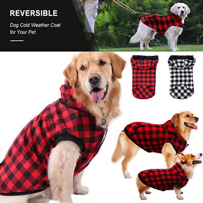 Pets Dog Winter Warm Fleece Jackets Coat Vest Plaid Dogs Hoodie Clothing Apparel