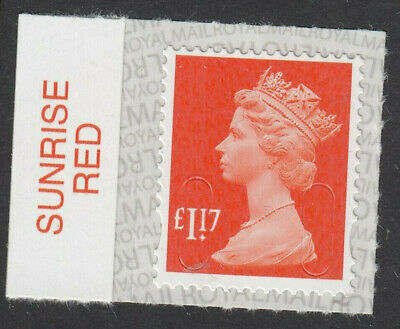 GB 2017 £1.17 CODE M17L SBP2u SUNRISE RED on SELVEDGE MNH From Counter Sheet