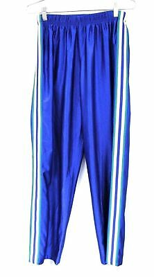Women's 1980s Jordache Shiny Poly Tracksuit Pants Blue Yellow Stripe M Unisex