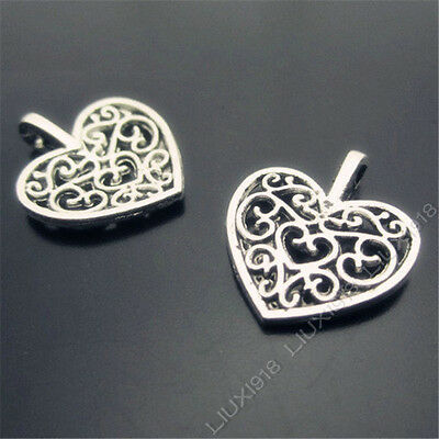 20pc Retro Tibetan Silver Hollow out Peach heart Flowers Pendant Charms PJ312