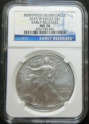 2015-W  Early Releases Burnished American 1 Ounce Silver Eagle Dollar Ngc Ms 70