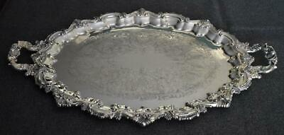 W & S Blackington Antique English Sheffield Silver Plate Hndld Service Tray #146