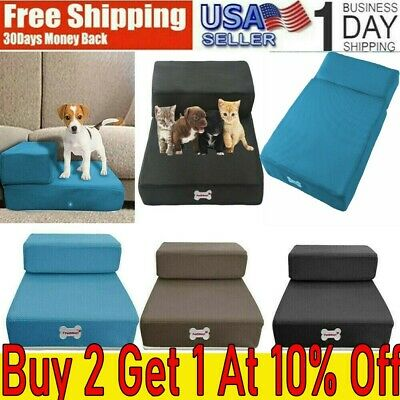 Dog Steps MOFor High Bed 2 Steps Pet Stairs Small Dogs Cats Ramp Ladder Portable
