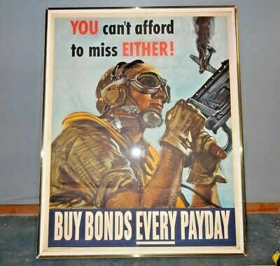 """WWII Bonds Poster, """"You Can't Afford to Miss Either"""" Buy Bonds Every Payday"""
