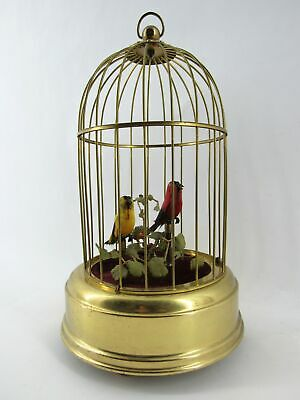 Beautiful Eschle German Birdcage Music Box with Two Singing Animated Bird