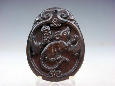 Old Nephrite Jade Hand Carved *Zodiac Mouse & Coins* Pendant #10091817