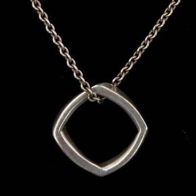 "Sterling Silver -TIFFANY & CO. Square Pendant 16.25"" Chain Link Necklace - 3.5g"