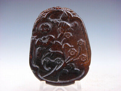 Old Nephrite Jade Hand Carved *Flying Bird & Flower Blossoms* Pendant #10171907