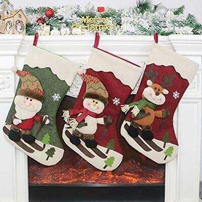 Stockings & Holders Christmas Stockings, 18&quot Big Set Of 3 Xmas Character 3D