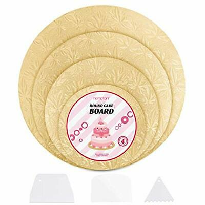 Cake Stands Hemoton 4Pcs Reusable Thicker Cardboards With Embossed Foil Wrapping